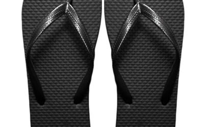 black flip-flops