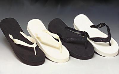 black-white flip-flops